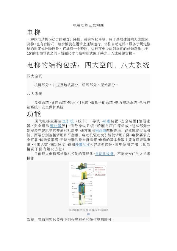 电梯工作原理及结构图图片